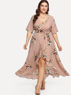 Stagioni Fashion for Women, Plus Size Dresses for Women. Item: Asymmetric Ruffle Hem Botanical Wrap Dress for Women Vestidos Plus Size, Plus Size Maxi Dresses, Casual Dresses, Fashion Dresses, Fashion Mode, Curvy Fashion, Plus Size Fashion, Plus Size Wedding Outfits, Plus Size Outfits