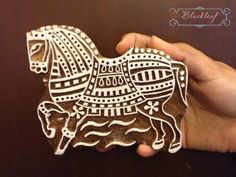 Hand Carved Indian Wood Block by BlackleafArt