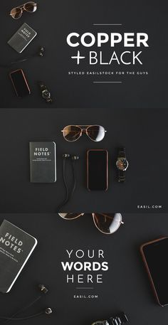 Styled Stock Photography EasilStock Copper and Black Flatlay on Black