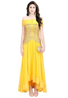 """All little #girls should be told they are pretty, even if they aren't."" Yellow #Color Pure Crepe Silk Designer #Gown"