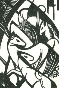Franz Marc, woodcut (there are some postcards in Leicester new Walk's Gallery from Marc to friends in Germany. Each has a drawing/print something like this on it. I'm not particularly covetous, but I'd give a lot to own a couple of them). Franz Marc, Wassily Kandinsky, Cavalier Bleu, George Grosz, Print Artist, Mail Art, Woodblock Print, Art And Architecture, Printmaking