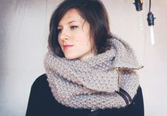 Customizable Zipper Cowl - Chunky wool knit with contrast zipper in colors you choose. $150.00, via Etsy.