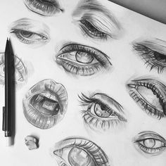 Marvelous Draw, Shade Realistic Eyes, Nose and Lips with Graphite Pencils Ideas. More About Draw, Shade Realistic Eyes, Nose and Lips with Graphite Pencils Ideas. Pencil Art Drawings, Art Drawings Sketches, Realistic Drawings, Tattoo Drawings, Arte Sketchbook, Sketchbook Inspiration, Aesthetic Art, Painting & Drawing, Drawing Tips