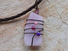 wire wrapped recycled glass pendant. Wire Wrapped Recycled Pink Stained Glass By UniqueChiqueJewelry, $14.00 Pendant T
