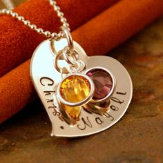 Hand Stamped Jewelry - Personalized Sterling Silver Necklace - You and Me Fancy Heart $42