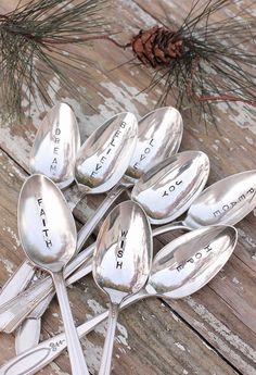 inspirational Spoons. 8 Christmas Spoons Believe Dream Faith Hope Joy Love Peace Wish