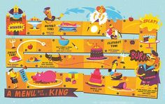 """""""A menu fit for a King"""" board game illustrations for Anorak Mag Baby Mapping, Learning Maps, Research Poster, Flashcards For Kids, Board Game Design, Coding For Kids, Life Map, Magazines For Kids, Graphic Design Illustration"""