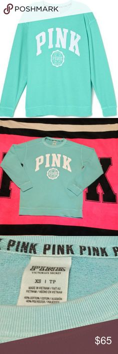 VS PINK CAMPUS CREW Size X-Small- Like new condition- oversized fit NO TRADES Reasonable offers considered ( LISTING IS FOR TOP ONLY- SHORTS AVAILABLE; listed separately) PINK Victoria's Secret Sweaters Crew & Scoop Necks