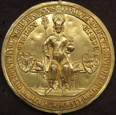 The Golden Bull of 1356 was a decree issued by the Imperial Diet at Nuremberg and Metz (Diet of Metz headed by the Emperor Charles IV Buy Gold And Silver, Carolingian, Holy Roman Empire, Bullen, Roman Emperor, Gold Bullion, Viking Age, World Coins, Kaiser