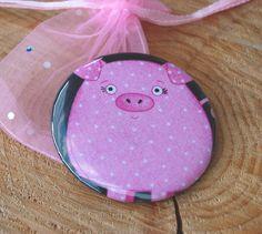 Taschen-Spiegel Glücks-Schwein..Schweinchen   S... von PauleWackeldackel auf DaWanda.com