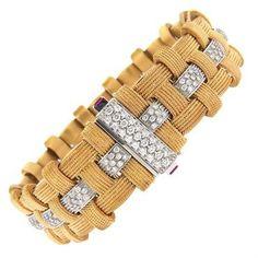 Impressive Roberto Coin Magnifica 18k Rose Gold Diamond Bracelet