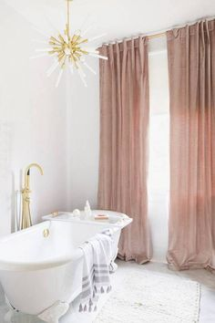 pink velvet curtains