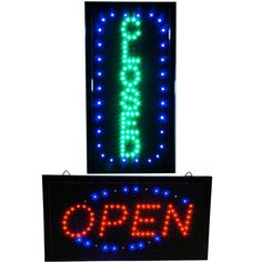 Bright Vertical Green Closed Store & Open Business Restaurant Shop LED Sign…