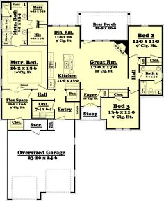 Country Style House Plan - 3 Beds 2 Baths 2000 Sq/Ft Plan #430-73 Main Floor Plan - Houseplans.com