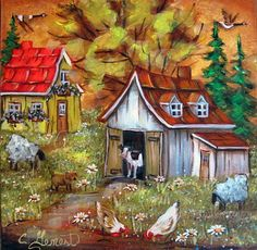 10X10 Les petits bonheurs House Painting, Painting & Drawing, Perfect Peace, Acrylic Artwork, Acrylic Painting Tutorials, Love Garden, Down On The Farm, Canadian Artists, Oeuvre D'art