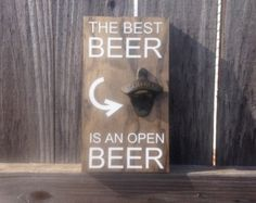 Beer Types Bottle Opener Solid wood, stained wall mounted sign with iron bottle opener in your choice of black or white (as pictured) vinyl