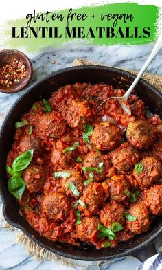 Vegetarian Recipes Easy, Vegan Dinner Recipes, Vegan Dinners, Lentil Recipes, Lentil Meatballs, Vegan Meatballs, Gluten Free Soy Sauce, Gluten Free Pasta, Cooking Green Lentils