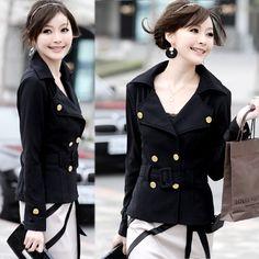 Women Double Breasted Lapel Casual Suit Jacket Outerwear Coats Black White  Belt 63617b59732
