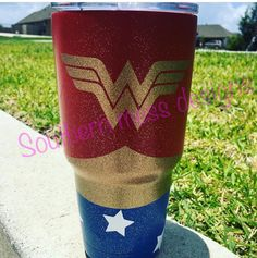 Powder coated Wonder Woman cup!  Southern mess designs  Montgomery  713-542-4380 to order
