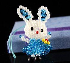 3D Animal Seed Bead Rabbit Charm Kawaii Bunny by EasyBoyStore, $8.50