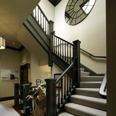 Custom made spindles and painted Benjamin Moore's #1547 - Dragon's Breath. Stairs Design, Pictures, Remodel, Decor and Ideas - page 11