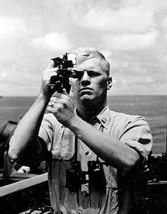 Navigation Officer Gerald Ford taking a sextant reading aboard the USS Monterey, 1944 (The Gerald R. Ford Presidential Library and Museum)