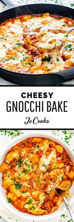 This Cheesy Gnocchi Bake couldn't be any easier! Made with a simple but flavorful tomato and bacon sauce and topped with melty mozzarella cheese. It's a satisfying and scrumptious meal fit for a busy weeknight or entertaining guests. Gnocchi Dishes, Gnocchi Recipes, Pasta Dishes, Beef Dishes, Quick Pasta Recipes, Easy Chicken Recipes, Cooking Recipes, Baked Gnocchi, Italian Dinner Recipes