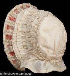 1855 to 1865 little girl's ivory silk taffeta drawn bonnet