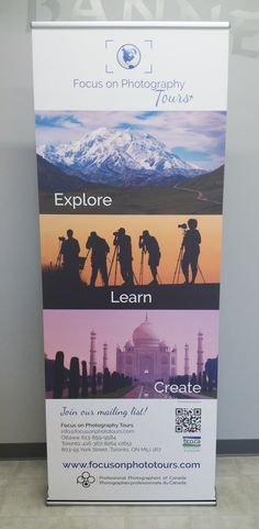 This informative retractable banner completed by Speedpro Imaging Ottawa for client, Focus of Photography Tours. This banner stand will be used at trade shows and displayed in the office when not at events. Looks great!