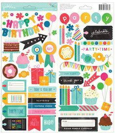 Pebbles - Birthday Wishes Collection - Cardstock Stickers - Icons and Phrases at Scrapbook.com