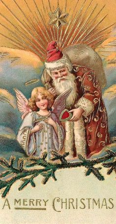 vintage Santa postcard More Vintage Christmas Images, Old Christmas, Old Fashioned Christmas, Victorian Christmas, Father Christmas, Christmas Angels, Christmas Crafts, Christmas Postcards, Christmas Trees