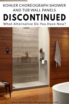 Kohler Choreograph Shower and Tub Wall Panels Discontinued – What Alternatives Do You Have Now? Laminate Wall Panels, Acrylic Wall Panels, Pvc Wall Panels, Bathroom Wall Panels, Modern Bathroom Tile, Shower Wall Panels, Bathroom Wall Decor, Small Bathroom, Bathroom Interior