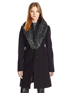 Vera Wang Womens Angie Twill Walker W Faux Fur Black Small *** Click image for more details.