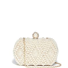GUESS by Marciano Pearl-Beaded Minaudiere Clutch ($69) ❤ liked on Polyvore featuring bags, handbags, clutches, white, beaded evening purse, pearl purse, beaded evening handbags, special occasion handbags and white purse