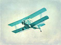 Vintage Airplane Nursery Print - Blue Aqua Boys Childrens Room Decor Aviation Flying Photograph via Etsy