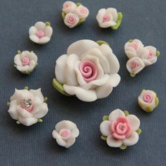 10pc- Set-White-Polymer Clay DIY Flowers for Earring Pendant Ring