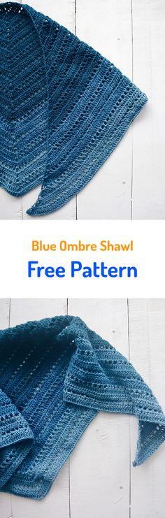 Blue Ombre Shawl Free Crochet Pattern #crochet #free #pattern #freecrochetpatterns #yarn