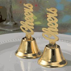 75 Gold Cheers Metal Kissing Bells Wedding Bridal Shower Party Favors for sale online Candy Wedding Favors, Rustic Wedding Favors, Wedding Favors Cheap, Gifts For Wedding Party, Wedding Koozies, Wedding Stuff, Bridal Shower Tables, Gold Bridal Showers, Bridal Shower Party