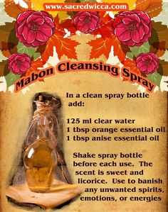Mabon Cleansing Spray – Witches Of The Craft® Mabon, Samhain, Orange Essential Oil, Essential Oil Blends, Essential Oils, Magick, Witchcraft, Autumnal Equinox, The Embrace