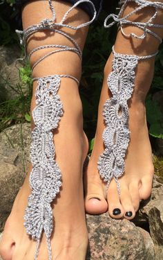 wedding barefoot bridal Barefoot Sandals, gray shoes  Crochet Sandals, Nude Shoes Sexy Foot Jewelry, Yoga Shoes, Foot Thongs Lace Sandles