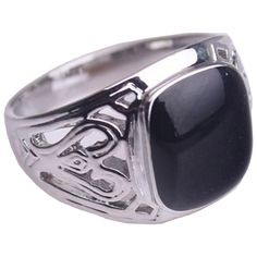 Mens womens boys sterling silver plated black onyx signet ring vintage style NEW (P)