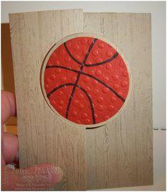 "Stampin' Up! Masculine Basketball Card: Circle thinlits die, hardwood stamp, 2-1/2"" circle punch, Cajun craze and crumb cake cs"