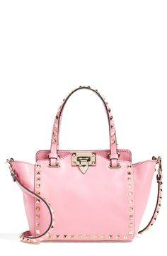 Valentino Women's Micro Mini Rockstud Leather Tote Pink One Very Valentino, Celine Bag, Valentino Rockstud, Valentino Couture, Pink Love, Gucci Bags, Mode Style, Pink Leather, Real Leather