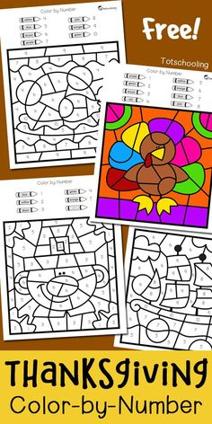FREE Thanksgiving coloring worksheets to practice numbers, fine motor skills and color words. Fun preschool or kindergarten Thanksgiving activity where kids can color turkeys, pilgrims and a ship!