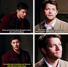 "10x03 Soul Survivor [gifset] - ""You realize how screwed up our lives are that that even makes sense."" - Dean Winchester, Castiel; Supernatural"