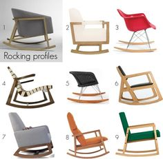 Rocking profiles: Modern rocking chairs for baby's room.