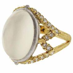 Buccellati Orocoll Moonstone Diamond Gold Ring