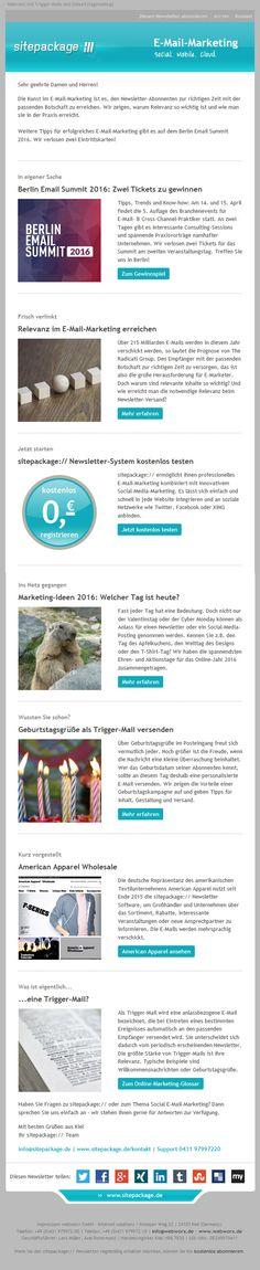 In unserem Februar-Newsletter verlosen wir zwei Tickets für das Berlin Email Summit 2016. Außerdem gibt es Tipps für mehr Relevanz im E-Mail-Marketing mit Trigger-Mails.