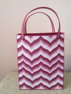 Handstitched Large Pink Bargello Zig Zag by KarensCraftCove, $55.00