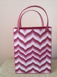Handstitched Large Pink Bargello Zig Zag by KarensCraftCove, $55.00